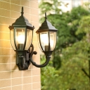 2-Head Acorn Wall Lighting Fixture Rustic Brass/Black Finish Metallic Sconce with Clear Glass Shade