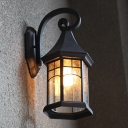 Pavilion Seeded Glass Wall Light Sconce Farmhouse 1 Head Outdoor Wall Mount Fixture in Black/Bronze