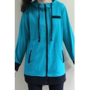 Popular Girls Long Sleeve Hooded Drawstring Zipper Front Contrasted Relaxed Hoodie in Blue