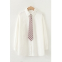 Formal Womens Long Sleeve Lapel Collar Plaid Tied Loose Fit Shirt in White