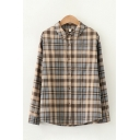 Nice Womens Long Sleeve Lapel Collar Button Up Plaid Printed Curved Hem Relaxed Shirt