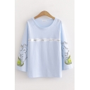 Creative Girls Long Sleeve Round Neck Letter Print Rabbit Graphic Relaxed Fit T-Shirt