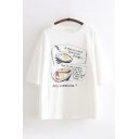 Casual Womens Three-Quarter Sleeves Round Neck Letter ANY QUESTIONS Fried Eggs Graphic Oversize Tee