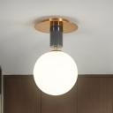 Milk Glass Global Ceiling Mounted Light Modernist 1/2 Bulbs Gold Flush Mount Lamp for Corridor