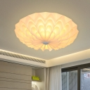 White Floral Flushmount Lighting Contemporary 4 Heads Polypropylene Flush Mount Lamp for Living Room