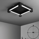 Bedroom LED Flush Mount Ceiling Lamp Simplicity Black Light Fixture with Square Acrylic Shade