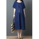 Cool Womens Vintage Solid Color Short Sleeve Round Neck Cotton and Linen Ruched Maxi Oversize Dress