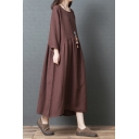 Classic Womens Solid Color Coffee Long Sleeve Round Neck Linen and Cotton Maxi Oversize Swing Dress
