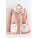Casual Cute Girls Long Sleeve Zipper Front Drawstring Cartoon Paw Pattern Pocket Panel Color Block Loose Coat
