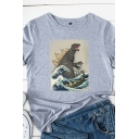 Simple Girls Rolled Short Sleeve Round Neck Dinosaur Wave Printed Relaxed Fit T-Shirt
