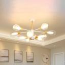 Radial Living Room Semi Flush Ceiling Light Wood 10-Bulb Modernism LED Flush Mount in White with Tulips Clear Glass Shade