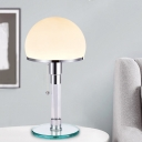 Dome Cream Glass Desk Lamp Modernist 1 Bulb Chrome Nightstand Lighting with Pull Chain