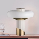 Metal Torch Desk Lamp Postmodern White and Gold LED Night Table Lighting for Living Room
