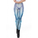 Fancy Chic Womens Midi Rise Fish Scales Pattern Ombre Slim Fit Stretchy Ankle Leggings in Blue