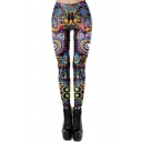 Trendy Sport Girls High Waist All Over Abstract Flower Print Ankle Slim Fit Stretchy Leggings in Black