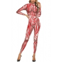 Unique Womens Long Sleeve Mock Neck Zipper Back Stripe Printed Ankle Fitted Costume Jumpsuits in Red