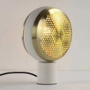 Modern 1 Bulb Night Table Light Gold/Rose Gold Drum Plug In Desk Lamp with Metal Mesh Shade