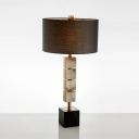 Fabric Drum Nightstand Lamp Modernism 1 Head Brown Night Lighting with Square Marble Base