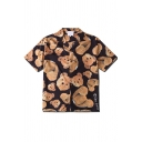 Fashionable Mens Short Sleeve Lapel Neck Button Down All Over Teddy Bear Pattern Relaxed Shirt in Black and Yellow