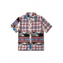 Stylish Short Sleeve Lapel Collar Button Down Checkered Floral Pattern Slim Fit Retro Shirt in White