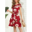 Fancy Girls Short Sleeve Round Neck All Over Floral Print Bow Tied Waist Short Pleated A-Line Dress