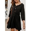 New Trendy Ladies Three-Quarter Sleeve Lapel Neck Button Up Drawstring Waist Short A-Line Shirt Dress