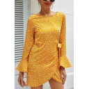 Chic Stylish Girls Ruffled Sleeves Round Neck Bow Tie Waist Polka Dot Pattern Mini Wrap Dress in Yellow