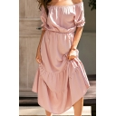 Casual Womens Short Sleeve Off the Shoulder Ruffled Trim Maxi Pleated A-Line Dress in Pink