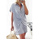 Formal Womens Short Sleeve Lapel Neck Button Down Stripe Printed Twist Front Short Shift Shirt Dress