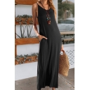 Fashionable Sexy Womens Sleeveless V-Neck Solid Color Long Shift Cami Dress