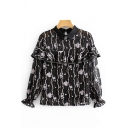 Fancy Ladies Long Sleeve Lapel Neck Button Down Allover Floral Print Ruffled Trim Mesh Slim Fit Blouse Top in Black
