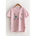 Lovely Girls Short Sleeve Round Neck Cat Embroidered Button Sides Relaxed T-Shirt