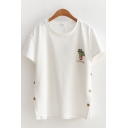 Cute Fashion Girls Short Sleeve Round Neck Planet Letter Embroidered Button Sides Relaxed Fit T-Shirt