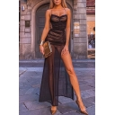 Elegant Glamorous Black Sleeveless See-Through Mesh High Cut Ruched Maxi Shift Cami Dress for Special Occasion
