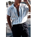 Popular Boys Roll-Up Sleeve Lapel Collar Button Down Stripe Patterned Relaxed Shirt in Light Blue