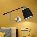 Barrel Bedroom Sconce Lighting Vintage Metallic 1 Light Black Wall Lamp Fixture with Gold/Silver Rotatable Arm