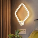 Rhombus Frame Bedside Wall Mount Acrylic LED Minimalist Sconce Light Fixture in White