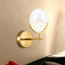 Round Panel Acrylic Sconce Light Post Modern LED Gold Wall Mount Lamp with Lotus Pattern in White/Warm Light
