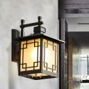 Lantern Opal Glass Wall Lighting Farmhouse 1 Head Outdoor Sconce Lamp Fixture in Brass/Black