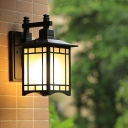 Cuboid Outdoor Wall Sconce Lamp Countryside White Frosted Glass 1 Bulb Black Wall Lighting