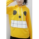 Cool Anime Long Sleeve Crew Neck Hooded Funny Face Printed Letter Graphic Relaxed Fit Pullover Sweatshirt in Yellow