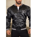 Fashionable Boys Long Sleeve Stand Collar Zip Up Contrasted Printed Striped Relaxed Fit Baseball Jacket