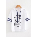 Lovely Womens Short Sleeve Drawstring Stripe Cat Printed Letter ALL DAY Loose Hoodie in White