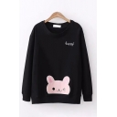 Leisure Girls Long Sleeve Round Neck Letter HAPPY Rabbit Embroidery Relaxed Pullover Sweatshirt