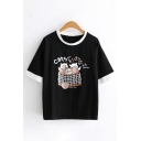 Stylish Womens Short Sleeve Round Neck Letter CATS KIDS Cat Graphic Contrast Piped Loose Tee