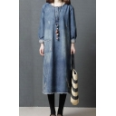 Cool Fashionable Roll Up Sleeves Round Neck Patched Pocket Raw Edge Maxi Oversize Denim Dress for Girls