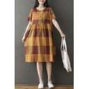 Casual Womens Short Sleeve Round Neck Plaid Patterned Striped Ruched Linen Mid Oversize Babydoll Dress