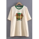 Popular Womens Short Sleeve Round Neck Letter CIRCUS Bear Graphic Contrasted Loose Fit Tee in Apricot