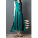 New Trendy Ladies Sleeveless V-Neck Color Block Cotton and Linen Long Flowy Tank Dress