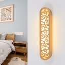 Wood Oval Shade Wall Lighting Ideas Simple Stylish LED Sconce Light Fixture in Beige for Bedroom with Hollow Design